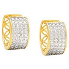 Diamond 0.02 CT.T.W Round Cut Accent Hoop Prong Set Earrings 18K Gold Plated
