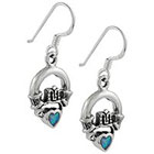 Target Sterling Silver Cladding Created Opal Heart Earrings - Turquoise & Silver