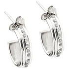 Diamond 14K White Gold Accent J Hoop Earrings