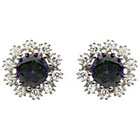 Target 7/8 CT. T.W. Round Cut Cubic Zirconia Prong Set Stud Earrings in Sterling Silver - Multicolored (6mm)