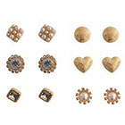 Target Stud Earrings with Stones - Ivory/Clear/Gold