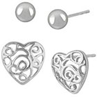 Target Sterling Silver Set of 2 Filigree Heart and Ball Stud Earring - Silver