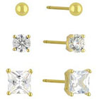Target Cubic Zirconia Set of 3 Stud Earrings with 14k Gold Plating in Sterling Silver - Gold