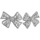Kenneth Jay LaneTM Button Post Bow with Crystal - Silver