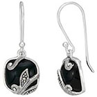 Target Marcasite and Onyx Earring - Silver