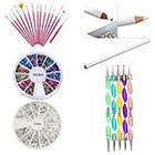 Amazon Great Quality Professional Nail Art Decorations Tools Set Kit With White Wax Rhinestones Picker Pencil / Pen, Silver Gemstones, Jewels In 12 Different Colors, 15 Pink Brushes / Stripers / Liners And 5 Double Ended Dotting Marbling Utensils By VAGA