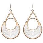 Natasha Accessories Imitation Gold Beaded Earring Bugle Beads - White (3