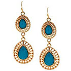 Target Teardrop Earring with Stones - Gold/Blue