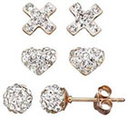 Kohl's Crystal 14k Gold Over Silver Cross, Heart & Ball Stud Earring Set