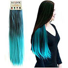 Step by Step Kisspat Turquoise Ombre Dip Dyed Hair Weave Extension-Synthetic Clip In Hair Extension With Gradual Green & Blue Colors, 5 Clips Easy To Apply & Remove, 23-24 inches Long, 9 inches wide, Instruction For You