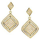 Journee Collection 1 3/8 CT. T.W. Round Cut CZ Pave Set Dangle Earrings in Brass - Gold