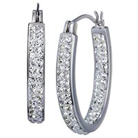 Target Hoop Earrings with Crystals - Silver/White