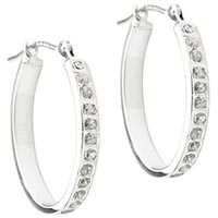 Diamond 0.01 CT. T.W. Accent Oval Hoop Earrings in 14K White Gold