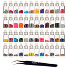SHANY 3D Nail Art Decoration Mini Bottles with Nail Art Tweezer, 48 Count in