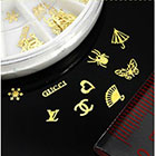 TOOGOO 60pcs 12 Hollow Style DIY Gold Metal Sticker slices Charms Wheel Nail Art in